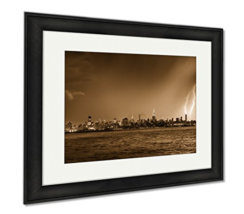 Ashley Framed Prints Lightning Hitting A New York City Skyscraper At Twilight Stormy Skies Over, Wall Art Home Decoration, Sepia, 26x30 (frame size), Black Frame, - And Shade Nyc Manhattan Glass