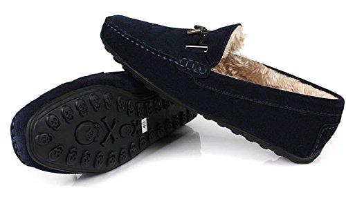 Santimon-vinter Varme Menns Komfort Ekte Nubuck Skinn Utendørs Lave Båt Sko Tøffelen Loafers Blå
