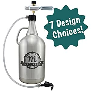 Personalized Etched 128oz Insulated Stainless Steel Growler (With Growler Dispenser)