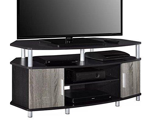 Wooden Tv Console Corner (Corner Tv Stand Entertainment Media Center Console Table Wooden Furniture W/ Two Cabinets & Adjustable Shelves in Espresso / Sonoma Oak Finish)