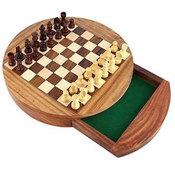 Juego de ajedrez de madera clásico con el tablero de ajedrez magnético Handcrafted redondo 5 pulgadas interiores felted...