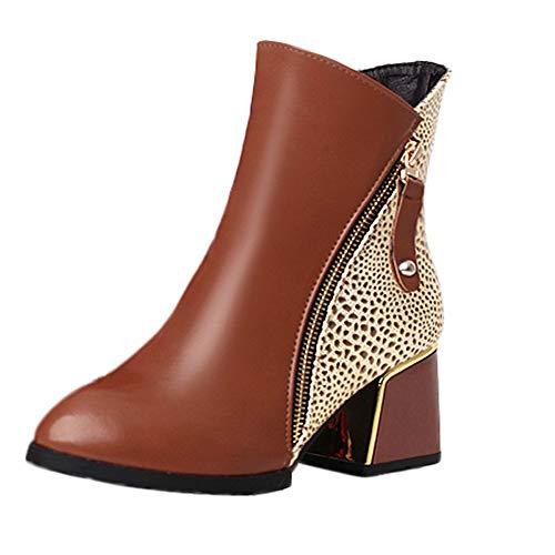 Chaussures Femme Bottes Femmes, Manadlian Boots Pu Bottine Femmes Plates Basse Cuir Chelsea Chic Zipper Classiques 4cm Taille 35-43 Jaune