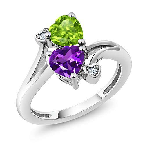 Gem Stone King Sterling Silver Green Peridot and Purple Amethyst Women's Ring 1.51 cttw Heart Shape Gemstone Birthstone Available 5,6,7,8,9 (Size 7) - Green Amethyst Fashion Ring