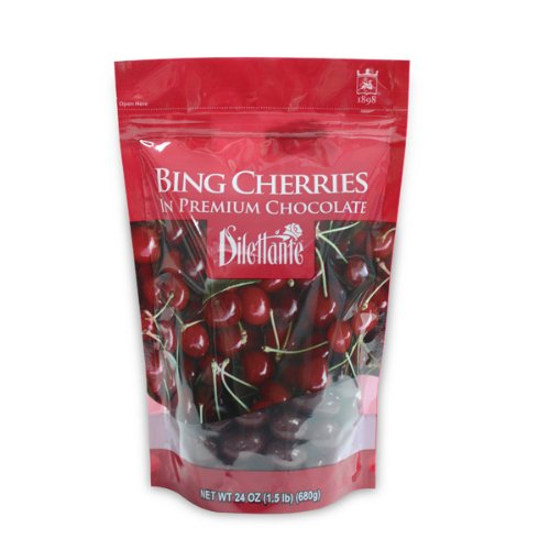 Chocolate Covered Bing Cherries - 24oz Pouch - by Dilettante (2 - Cherries Chocolate Bing