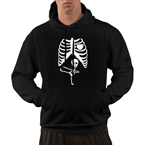 Dolores Marguerite Halloween Pregnant Skeleton Hoodie Sweatshirt Men's Pullover Hoodie Casual and Fashionable with Pockets Black -