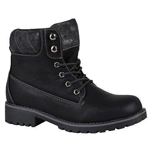 Stiefelparadies Damen Herren Unisex Warm Gefütterte Stiefeletten Outdoor Worker Boots Profilsohle Winterschuhe Camouflage Schuhe Übergrößen Flandell Schwarz Metallic