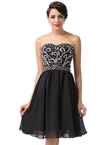 Grace Karin® Womne Strapless Sequins Short Evening Prom Party Dress CL6049 (14, Black)