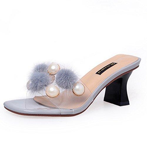 Orteil Stiletto Perle Femme Sandales Gris Pantoufles Escarpins Ouvert Robe Chaussures Glissière sur Slip Talons EqH8HWU