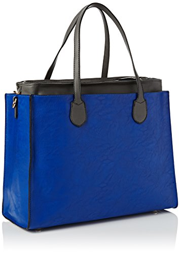 SwankySwans - Stanton Leather Satchel Handbag Uni Shoulder Bag, Borsa Tote Donna Blue (Royal Blue/ Grey)