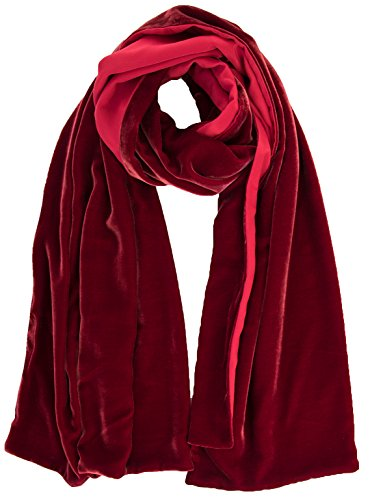 Elizabetta Womens Black Silk Velvet Evening Wrap Shawl - Made in Italy (Sophia Ruby Red) by Elizabetta