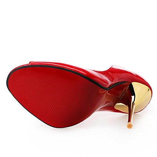 L@YC Frauen High Heels PU2018 Neue Damenschuhe Farbverlauf High Heels Pumps Schuhe Red