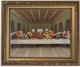 US Gifts Da Vinci: The Last Supper Series Last SupperPrint in Ornate Gold Finish Frame