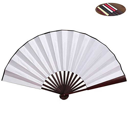 Folding Fan HONSHEN Bamboo Blank Hand Fan Chinese/Japanese with Traditional Chinese Arts (white)13inch from HONSHEN