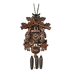 River City Clocks Eight Day Musical Hunter's Cuckoo Clock with Dancers Hand Carved Live Animals, Leaves and Buck