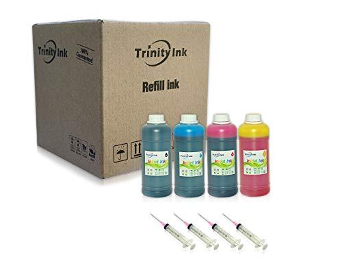 Trinity Compatible Ink Refill Replacement for Epson 502 Exprsion ET-2700 ET-2750 ET-3700 Workforce ET-3750 ET-4750 ET-4752 (Black, Cyan, Magenta, Yellow, 4x500ml) (Refill Kit Epson)