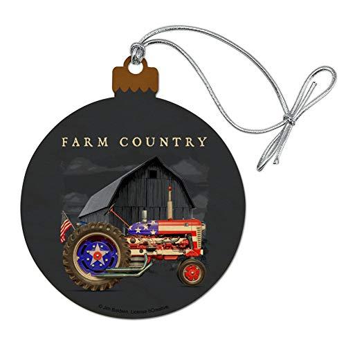 GRAPHICS & MORE Farm Tractor Country USA American Flag Barn Farming Wood Christmas Tree Holiday Ornament