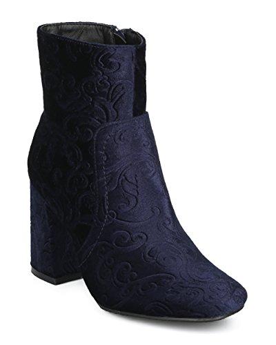 Alrisco Women Embossed Chunky Heel Ankle Heel Bootie - Casual Dressy Versatile Everyday Boot - HE77 by Refresh Collection Navy Velvet m3wqL032f