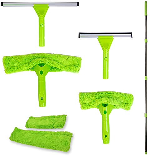 Modern Domus Neverending Reach Squeegee Window Cleaner Kit! Shower Squeegee, High Window Cleaning Tools, Car Windshield…