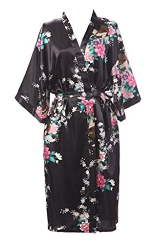 Sirwolf Women s Kimono Wedding Robe long Peacock Design Robe Printing Lotus  Sleeve Silk (Black 8e5dbb00d
