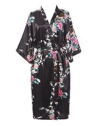 Sirwolf Women's Kimono Robe Printing Lotus Sleeve Silk