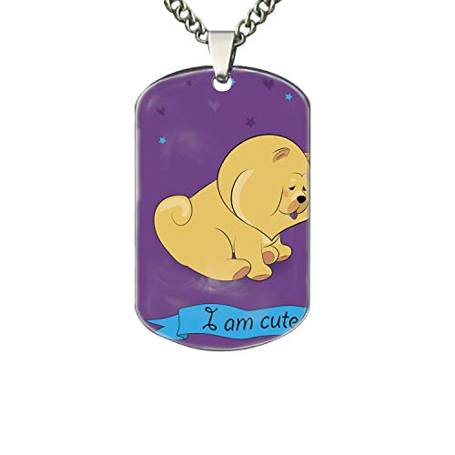 (PANQJN Cute Chow Chow with Teapot Dog Tag Necklaces,Personalized Dog Tags)