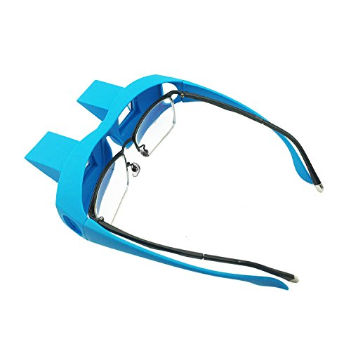 Anrri Bed Prism Glasses Lazy Spectacles Horizontal Glasses Lie Down for Reading/Watching TV, Myopia usable,Blue