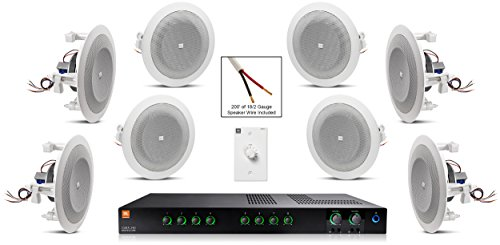 JBL 8124 In-Ceiling Loudspeaker Bundle with JBL CSMA 240 Mixer Amplifier and Accessories - Restaurant Sound System (35 Items) (Restaurant Sound System)