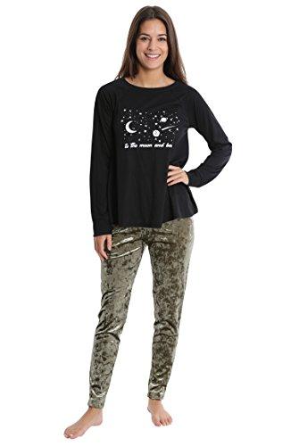 - WallFlower Women's Pajama Set - Long Sleeve Sleep Shirt w/Crushed Velvet Leggings - Black W. Olive Velvet, Large