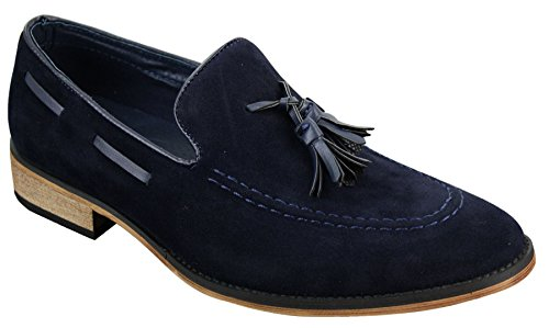 Mens Italian Slip On Driving Shoes Loafers Tassle Suede Leather Blue Black Brown Navy