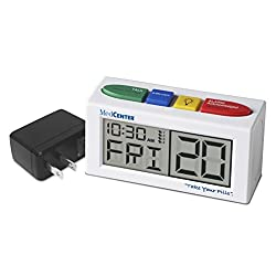 Medication Talking Reminder Alarm Clock with Loud, Easy Set, Multiple Alarms with AC Adapter Included, by MedCenter