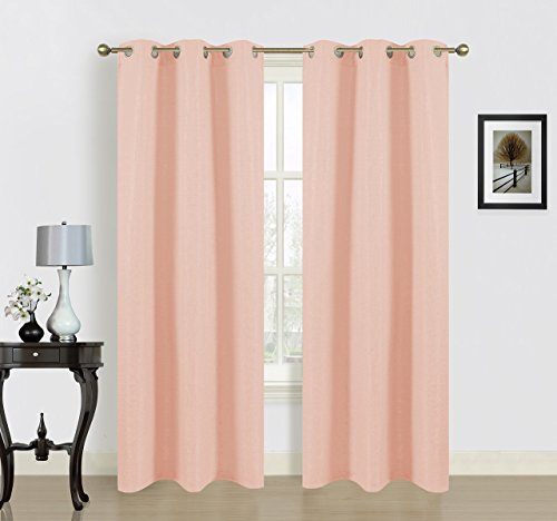 Dainty Home Blended Silk Grommet Window Panel Pair with Cotton, 76x84'', Peach