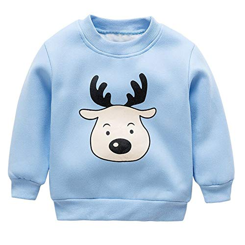 Romance8 Cartoon Sweater Child Christmas Long Sleeve Plus Velvet Elk Top ()