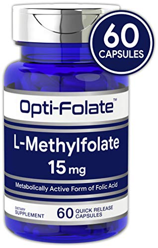 Acid Folic Tablets 30 (L Methylfolate 15mg | 60 Capsules | Max Potency | Optimized and Activated | Non-GMO, Gluten Free | Methyl Folate, 5-MTHF | by Opti-Folate)