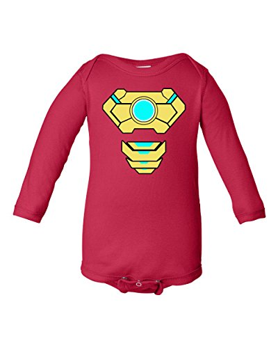 A Tee Tee Monster Baby Ironman Inspired Long Sleeve Bodysuit Onesie (18 month, Red) (Iron Man Halloween Suit)