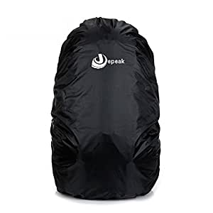 Jepeak 35L Nylon Waterproof Backpack Rain Cover Rucksack Water Resist Cover for Hiking Camping Traveling Outdoor Activities, Black
