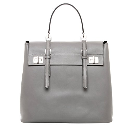 Prada-Womens-Lux-Calf-Tote-Bag-Grey