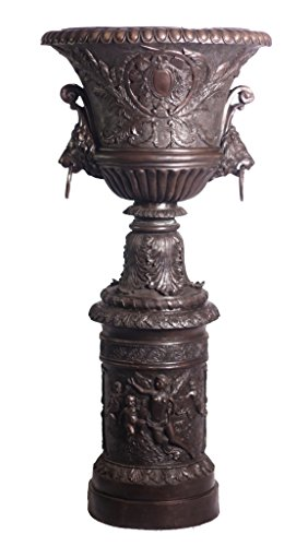World of Bronze Statues Warehouse RGA01105 Tall and Large Bronze Pedestal Urn, 32/66-Inch by World of Bronze Statues Warehouse