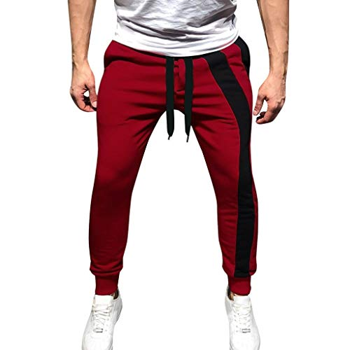Men's Sweatpants Elastic Waist Patchwork Trousers Jogger Workout Drawstring Pants with Pockets Red