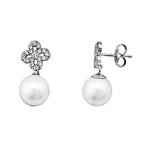 Boucled'oreille 18k or blanc perle de culture de longues zircons [AA5835]