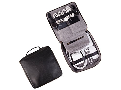Rolodex Cord (Dwellbee Travel Electronic Accessories and Cable Organizer, Large (Buffalo Leather, Black))