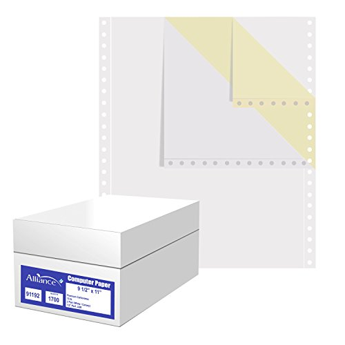 Alliance Premium Carbonless Computer Paper, 9.5 x 11, Blank Left and Right Perforated, 15 lb, 2-Part White/Canary (1,700 Sheets) - Made In The USA