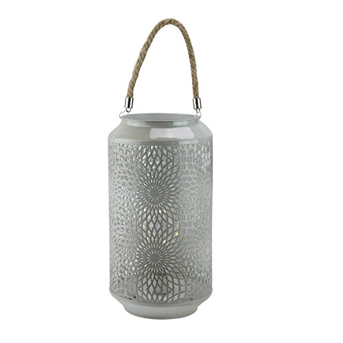"""Gerson 11.75"""" Gray Metal LED Indoor/Outdoor Lantern with Rope Handle"""