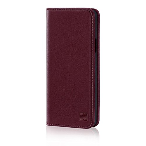 32nd Classic Series – Real Leather Book Wallet Case Cover For Samsung Galaxy S9, Real Leather Design With Card Slot, Magnetic Closure and Built In Stand – Burgundy