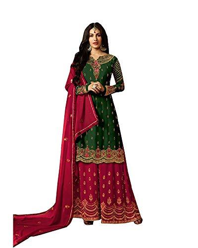 stylishfashion New Indian/Pakistani Sharara/Plazzo Style Salwar Suit for Women Party Wear (Green, XS-36)