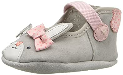 Robeez Girls' Bunny Face Mary Jane, Grey, 12-18 Months M US Infant