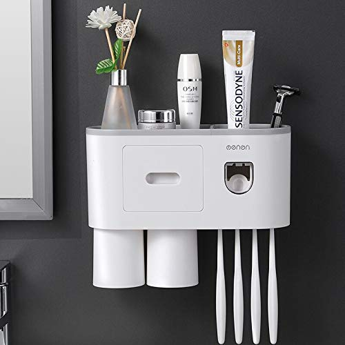 TuCao Automatic Toothpaste Dispenser Squeezer Kit Wall Mounted with Toothbrush Holder, 4 Toothbrush Slot with Dustproof Cover, 2 Magnetic Cups, Multi-Functional Toothbrush Organizer(2 Cups)