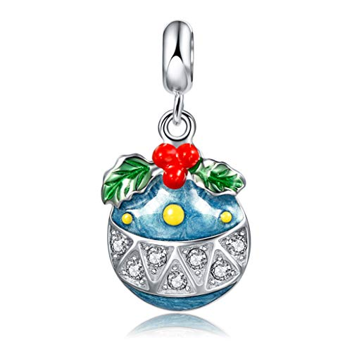 (Long Way 925 Sterling Silver Enamel Christmas Charm Beads for Bracelet and Necklace)