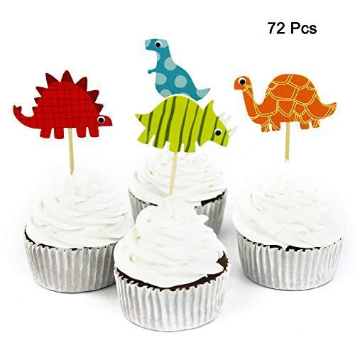 72 Pcs Dinosaur Cupcake Picks Cupcake Toppers Food Fruit Picks for Decoration By DLOnline -