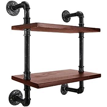 mygift 2 tier floating shelves industrial pipe design hanging shelf rack brown