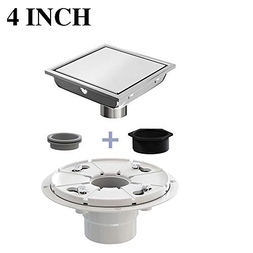 Ushower 4 Inch Square Drain for Shower with Drain Base Flange 2 Inch Outlet, Floor Drain Square with Threaded Adapter, Rubber Coupler, Hair Strainer for Bathroom Kitchen Basement ()
